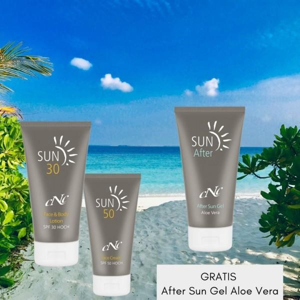 SUN Face Cream & Body Lotion + GRATIS After Sun Gel Aloe Vera